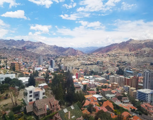 Aerial view of La Paz, Bolivia from a cable car. City center.