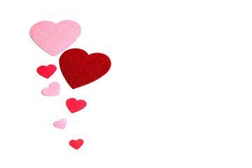 Group of pink and red hearts isolated over white as a background.