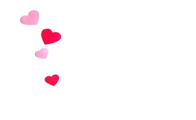 Group of pink and red hearts isolated over white as a background