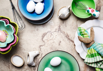 Fresh eggs, Easter composition, top view