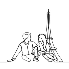 continuous line drawing of romantic couple in - Vector illustration