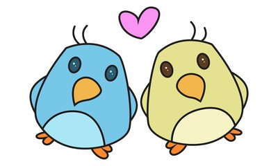 Vector cartoon illustration of cute birds in love .Isolated on white background.