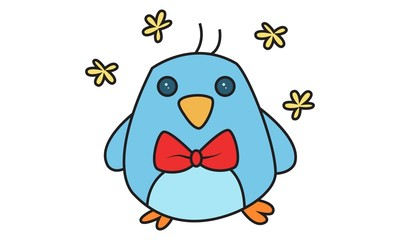 Vector cartoon illustration of cute bird wearing a bow tie.Isolated on white background.