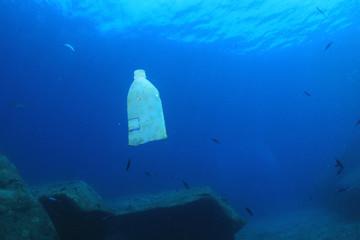 Plastic bottle pollution in ocean