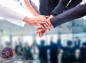 Equality and Interconnectedness. Business success and teamwork achievement goal.