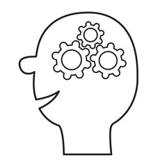 Human head face. Line silhouette. Gears wheels inside brain. Team work business concept. Thinking process. Flat design. Isolated. White background.