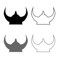 Viking helmet icon set grey black color illustration outline flat style simple image
