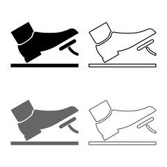 Foot pushing the pedal gas pedal brake pedal auto service concept icon set grey black color illustration outline flat style simple image