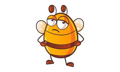 Vector cartoon illustration of cute honey bee sick.Isolated on white background.