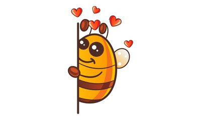 Vector cartoon illustration of cute honey bee in love.Isolated on white background.
