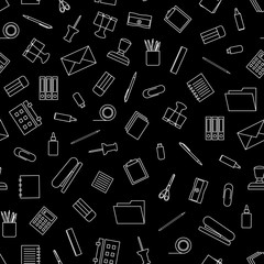 Vector seamless pattern with white outline stationery on black background. Stationery tools seamless pattern.