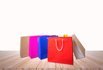 shopping bag on the wooden table