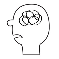 Human face icon. Black line silhouette. Scribble ravel in the head inside brain. Mental health concept. Psychotherapy. Thinking process. Flat design. White background. Isolated.