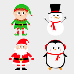 Santa Claus Elf Snowman Penguin set. Happy New Year. Merry Christmas. Red green black hat. Cute cartoon funny kawaii baby character. Greeting card. Flat design. Gray background.