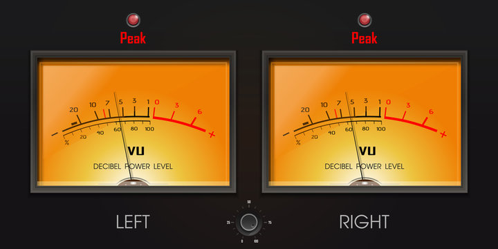 Analog VU meter with peak LED. Decibel power level. A volume unit - VU meter left and right. Device displaying a representation of the signal level in audio equipment. Vector illustration