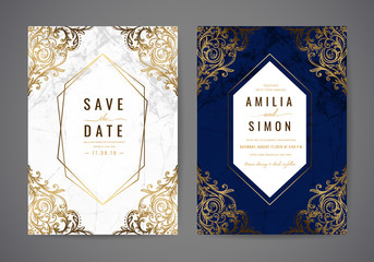 Luxury wedding invitation cards with gold marble texture and geometric pattern , Classic Flair, vintage vector design template