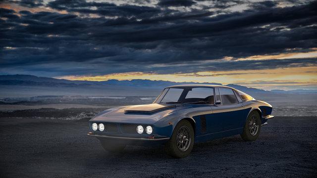 classic car in a dark landscape late in the evening