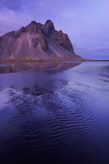 Kambhorn Mountain in twilight. Stokksnes, Iceland