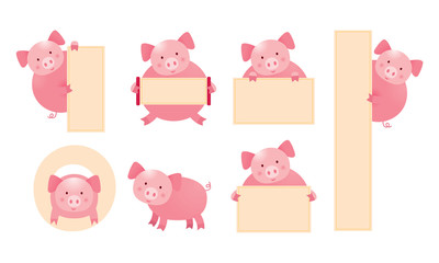 Pig Cartoon Character Holding Sign Set, Cute Vector Illustration with Copy Space
