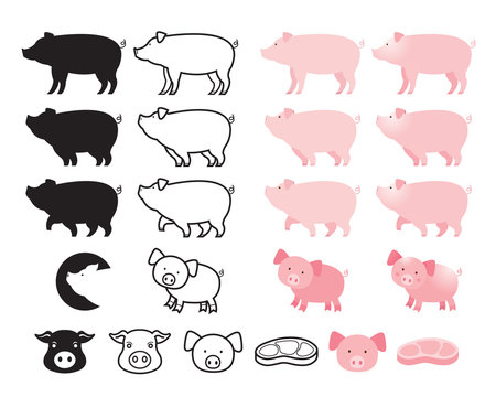 Pig Character Set, Line, Shape, Silhouette, Cartoon, Character