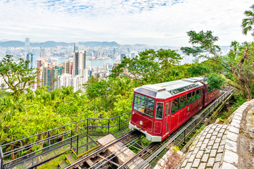 Victoria Peak Tram and Hong Kong Skyscraper Buildings with Victoria Harbour Background, Hong Kong Wall mural