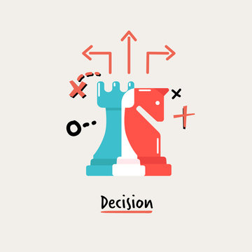 Chess of Dicision. business management concept - vector