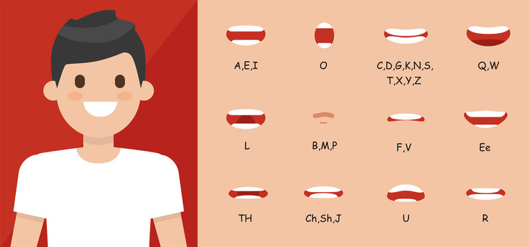 Human mouth set. Lip sync collection for animation and sound pronunciation. Character face elements. Emotions: smiling, screaming, sad. Simple cartoon design. Flat style vector illustration.