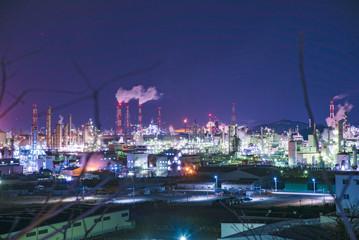 岡山県・水島工業地帯の夜景