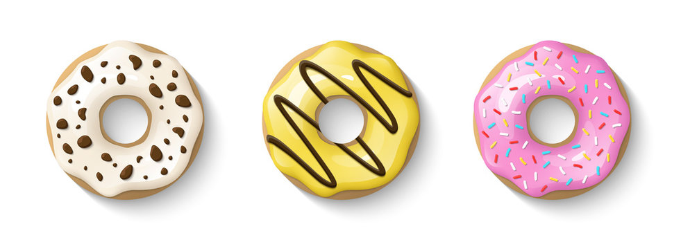 Donuts set isolated on a white background. Cute, colorful and glossy donuts with glaze and powder. Yellow, pink and vanilla glaze. Simple modern design. Realistic vector illustration.