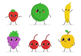 Cute funny food characters set isolated on white background. Fruits and berries collection. Healthy food. Strawberry, banana, grapes. Beautiful simple cartoon design. Flat style vector illustration.