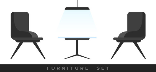 Furniture set. Elements of interior collection isolated on white background. Apartment inside. Home constructor. Chairs, table, lamp. Simple modern design. Flat style vector illustration.