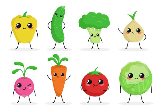 Cute funny food characters set isolated on white background. Vegetables collection. Healthy food. Carrot, cucumber, broccoli, tomato. Beautiful simple cartoon design. Flat style vector illustration.