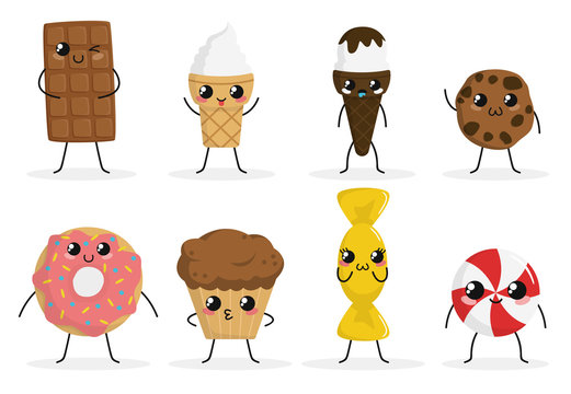 Cute funny food characters set isolated on white background. Sweets collection. Junk food. Ice cream, donut, cookies, candy, cake. Beautiful simple cartoon design. Flat style vector illustration.