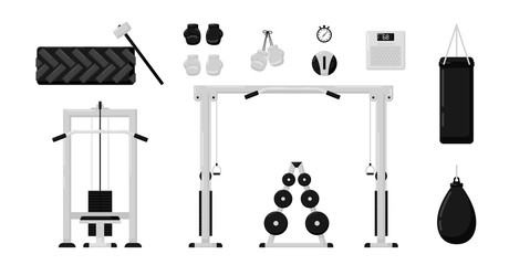 Gym fitness equipment set isolated on white background. Black and white color. Collection of modern training apparatus. Cute cartoon design. Simple flat style vector illustration.