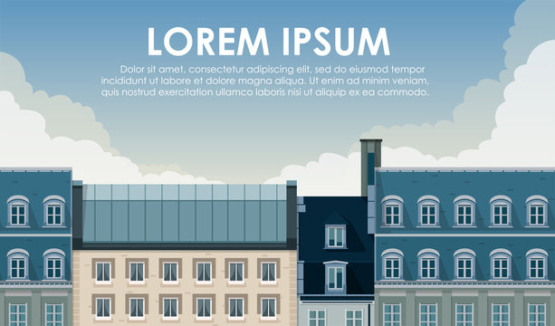Seamless city panorama. Paris cityscape. Beautiful architecture. Street with cute buildings. City's skyline. Banner, flyer template. Simple modern cartoon design. Flat style vector illustration.