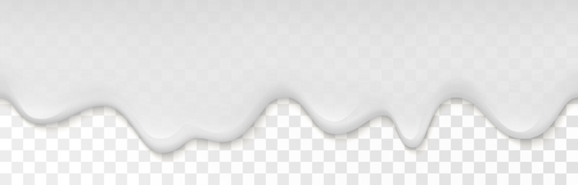 Creamy liquid, yogurt cream, ice cream or milk melting and flowing on transparent background. White creamy drips. Simple cartoon design. Template for banner or poster. Realistic vector illustration.
