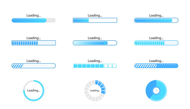 Loading icon set isolated on white background. Progress bar collection. Colorful icons for interfaces. Simple beautiful modern graphic design. Flat style vector illustration.