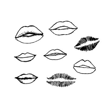 Vector set of hand drawn lips. Hand drawn lips collection.