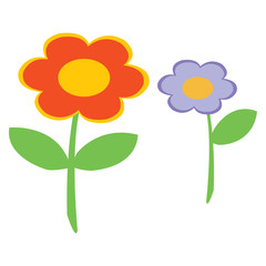 Vector illustration of two simple flowers on white background