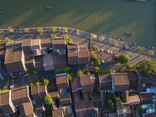 Aerial view of Hoi An old town or Hoian ancient town. Royalty high-quality free stock photo image top view rooftop of street walking in Hoi An city. Hoi An city is UNESCO world heritage site