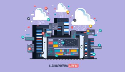 Mobile video editor flat vector concept. Motion design studio, video editor app, creating video online. Cloud rendering Concept illustration.
