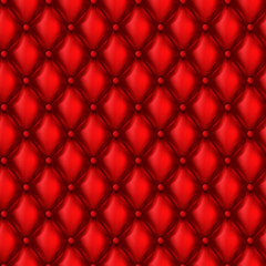 Vector 3d realistic upholstery seamless pattern, abstract geometric background. Wallpaper with red leather texture, decorative ornament with rhombus tiles for sofa or cushion. Template for your design
