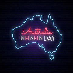 Australia Day neon map. Neon sign on brick wall. Vector light signboard.