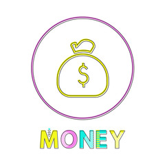 Wall Mural - Money Web Linear Icon Template with Sack of Coins