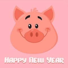 Cute Pig Cartoon Character Face Portrait Vector Illustration Flat Design. Vector Illustration Flat Design With Background And Text Happy New Year