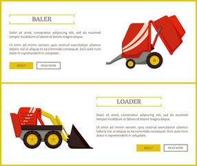 Loader and Baler Posters Set Vector Illustration