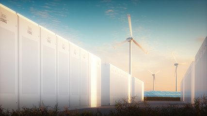 The concept of saving energy from renewable sources. 3d illustration of a modern battery system with a background of solar wind power plants in a warm evening light.