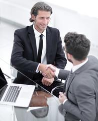 closeup. business handshake in an office.
