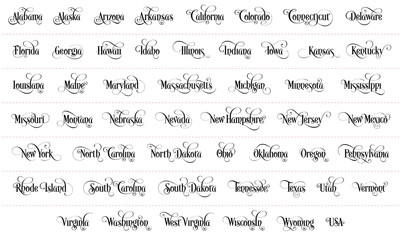 Typography of The USA States Name Black Handwriting Illustration on White Background. Modern Calligraphy Element for your design. Simple vector lettering for t-shirts print, invitations, cards etc.
