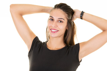 beautiful pretty woman portrait with hands in hair